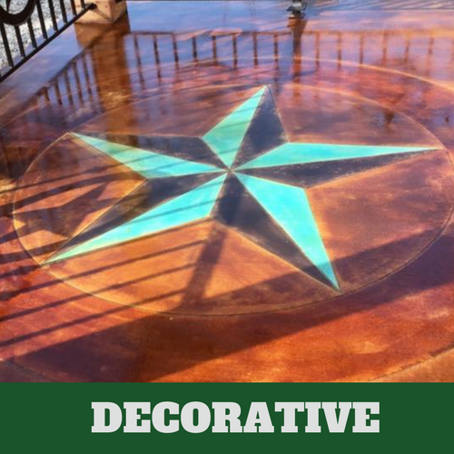 This is a picture of a decorative concrete floor with star design detail.