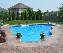 Stamped concrete pool deck in Virginia.