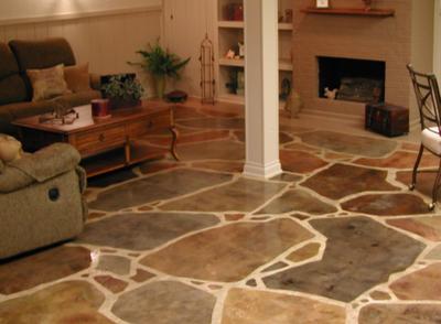 Multi-colored stone style living room floor.