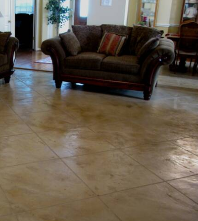Stained and textured tile style interior floor.